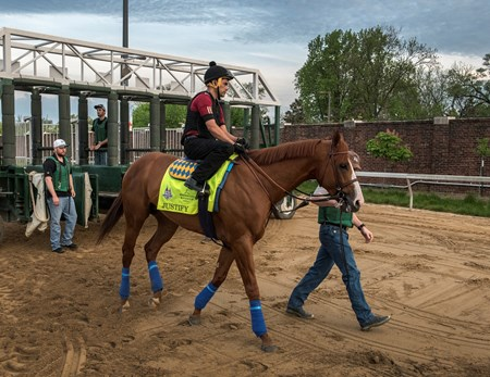 Justify schools at the gate at Churchill Downs Wednesday May 2, 2018