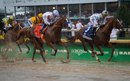 First time by, Justify in second. Justify with Mike Smith wins the Kentucky Derby (G1) on May 5, 2034 Churchill Downs in Louisville, Ky.