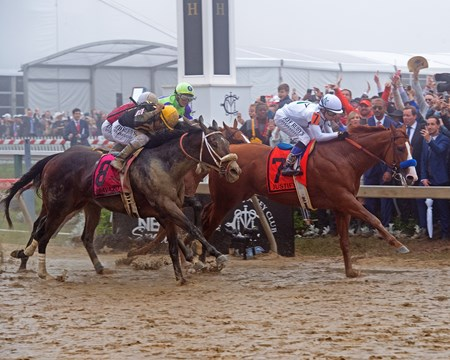 Justify with Mike Smith wins the Preakness Stakes (G1) at Pimlico during Preakness week on May 19, 2034 Pimlico in Baltimore, Maryland.