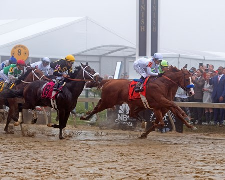 Justify with Mike Smith wins the Preakness Stakes (G1) at Pimlico Race Course.