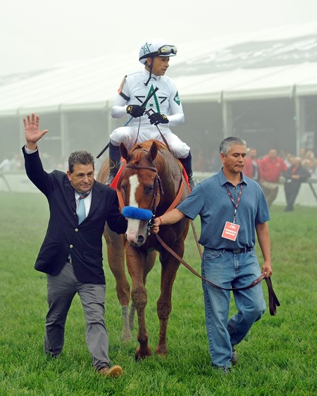 (May 19, 2018)  Justify heads to the winners' circle after his Preakness win...