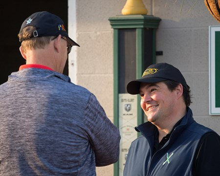 Sean Tugel, right, talks with Elliott Walden. Justify returns to the track at Churchill after his Kentucky Derby win on May 10, 2034 Churchill Downs in Louisville, Ky.