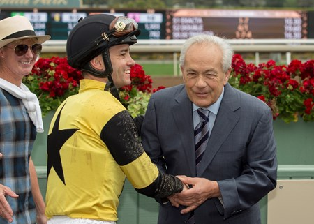 Trainer Jerry Hollendorfer, right, celebrates with jockey Flavien Prat, left, after Kanthaka's victory in the G3, $100,000 Lazaro Barrera Stakes, Saturday, May 12, 2018 at Santa Anita Park, Arcadia CA.