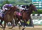 Diversify (inside) wins the Commentator Stakes at Belmont Park