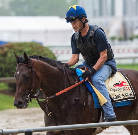 Lone Sailor trains at Pimlico in preparation for the Preakness on Thursday May 17th, 2018.
