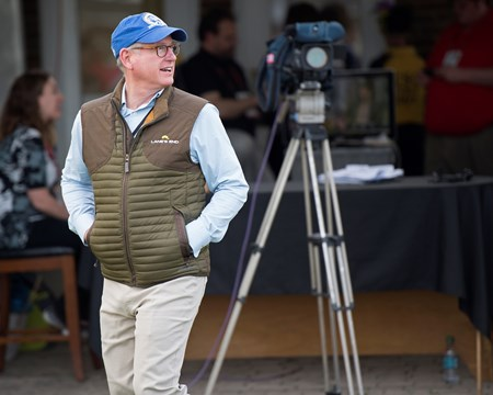 Bill Farish with Lane's End in the media area of Churchill Downs during morning works. Morning scenes on May 2, 2018 Churchill Downs in Louisville, Ky.