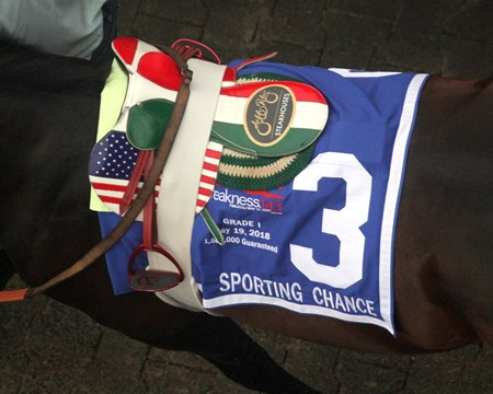 Sporting Chance's saddle at Pimlico on May 19, 2018