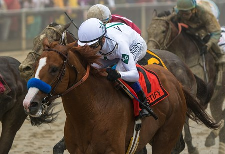 Justify, with Mike Smith up, win the Preakness Stakes at Pimlico
