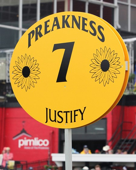 Justify Preakness sign at Pimlico Race Course.