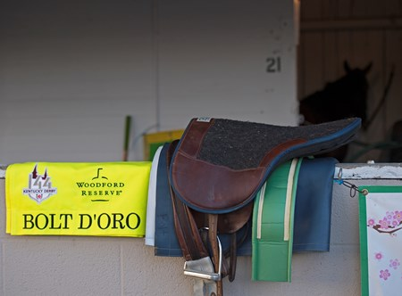 Bolt d'Oro tack and saddlecloth and Bolt d'Oro in his stall. Morning scenes on May 1, 2018 Churchill Downs in Louisville, Ky.