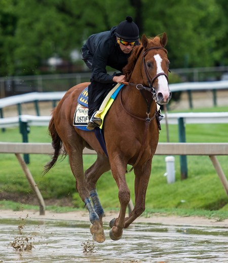 Justify trains at Pimlico in preparation for the Preakness Stakes on Thursday May 17th, 2018