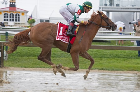 Happy Like a Fool with Tyler Gaffalione wins the Adena Springs Miss Preakness (G3)  at Pimlico during Preakness week on May 18, 2034 Pimlico in Baltimore, Maryland.