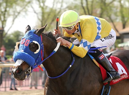 Grasshoppin #2 with Edwin Rivera riding won the $100,000 Lyman Stakes at Parx Racing in Bensalem, Pennsylvania on April 28, 2018