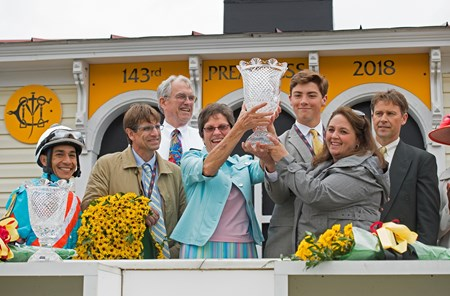 l-r, Lopez, Gorder, Sandra Sexton, Brandi and Steven Nicholson and son. Red Ruby with Paco Lopez wins the Black-eyed Susan Stakes (G2) at Pimlico during Preakness week on May 18, 2034 Pimlico in Baltimore, Maryland.
