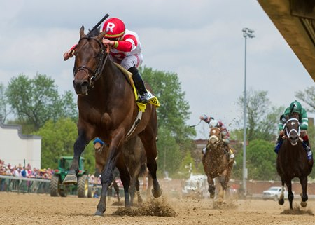 Backyard Heaven wins the Alysheba Stakes as Always Dreaming (along the rail) runs fifth at Churchill Downs