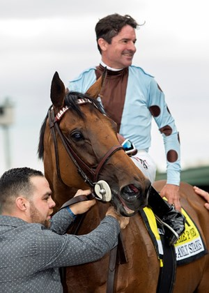 Sophie P and jockey Kent Desormeaux after their victory in the Gamely Stakes on the Santa Anita turf