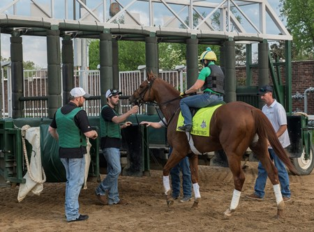 Hofburg schools at gate at Churchill Downs Wednesday May 2, 2018