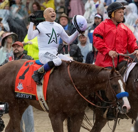 Justify with jockey Mike Smith wins the 144th running of the Kentucky Derby May 5, 2018 at Churchill Downs in Louisville, Kentucky