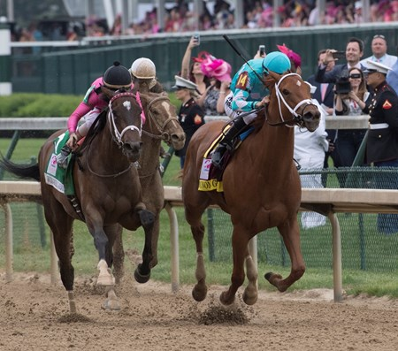 Monomoy Girl wins the 144th running of the Kentucky Oaks at Churchill Downs Friday May 4, 2018 in Louisville Kentucky