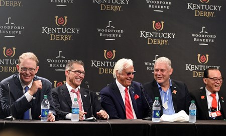 Justify, Mike Smith, Kentucky Derby, G1, Churchill Downs, May 5, 2018, press conference, Elliott Walden, Kenny Troutt, Bob Baffert, Ah Khing Teo