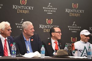 Justify; Mike Smith; Kentucky Derby; G1; Churchill Downs; May 5; 2018; press conference; Bob Baffert; Ah Khing Teo; Mike Smith