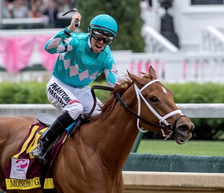 Monomoy Girls wins the 144th running of the Kentucky Oaks at Churchill Downs Friday May 4, 2018 in Louisville Kentucky.