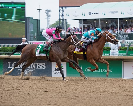 Monomoy Girl with Florent Geroux wins the Kentucky Oaks(G1) on May 4, 2018 Churchill Downs in Louisville, Ky.
