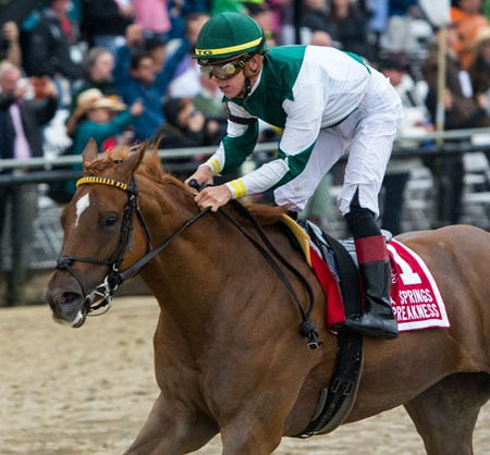 Happy Like A Fool, with Tyler Gaffalione up, wins the Miss Preakness on May 18th, 2018