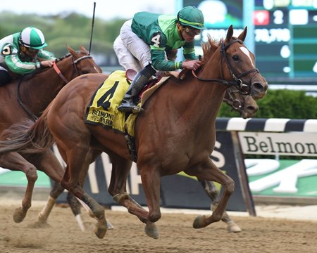 Pacific Wind wins the Ruffian Stakes by a length at Belmont Park