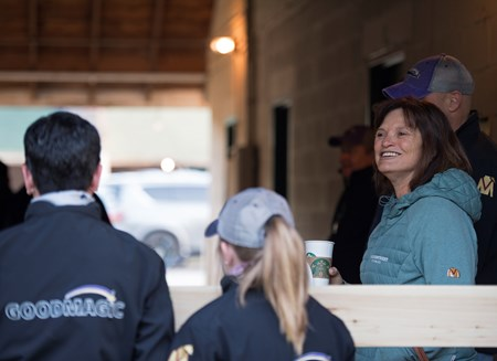 Barbara Banke, owner of Good Magic and Stonestreet. Morning scenes on May 1, 2018 Churchill Downs in Louisville, Ky.