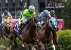 Will Call rallies wide to win the Turf Sprint at Churchill Downs