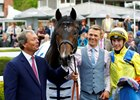 William Haggas (left) with Young Rascal after the colt's victory in the Chester Vase