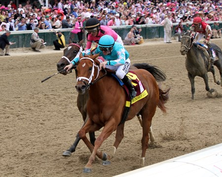 Monomoy Girl with Florent Geroux win the 144th Running of the Kentucky Oaks at Churchill Downs on May 4, 2018