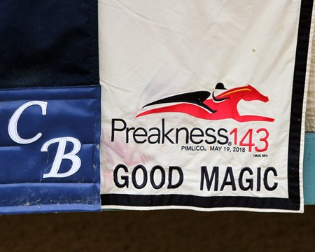 Good Magic saddle cloth at Chad Brown's barn on May 18, 2018 at Pimlico