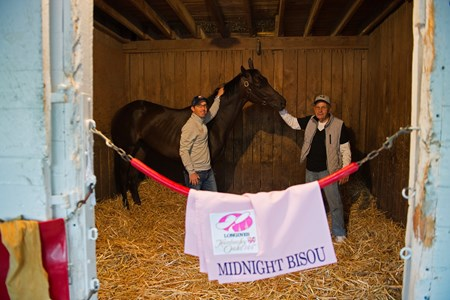 Midnight Bisou in her stall with Jeff Bloom and Bill Spawr. Morning scenes on May 2, 2018 Churchill Downs in Louisville, Ky.