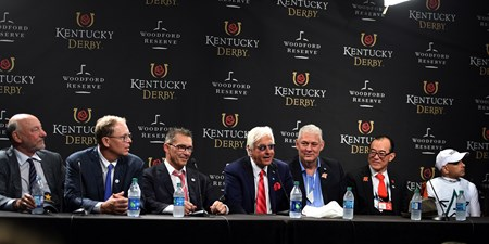Justify, Mike Smith, Kentucky Derby, G1, Churchill Downs, May 5, 2018, press conference, Elliott Walden, Kenny Troutt, Bob Baffert, Ah Khing Teo, Mike Smith