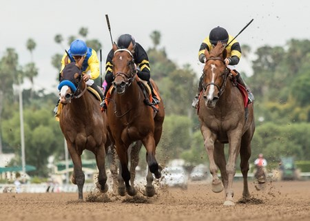 West Point Thoroughbreds' Kanthaka and jockey Flavien Prat, right, outleg, Zulfikhar (Martin Garcia), left, and Beautiful Shot (Kent Desormeaux), second from left, to win the G3, $100,000 Lazaro Barrera Stakes, Saturday, May 12, 2018 at Santa Anita Park, Arcadia CA.