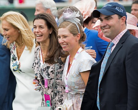 Liz Crow, 2nd right, and Elizabeth Kumin, second left. Monomoy Girl with Florent Geroux wins the Kentucky Oaks(G1) on May 4, 2018 Churchill Downs in Louisville, Ky.