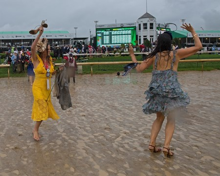 Girls that were in winners circle dancing on track. Justify with Mike Smith wins the Kentucky Derby (G1) on May 5, 2018 Churchill Downs in Louisville, Ky.
