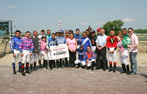 Edgar Prado earned his 7,000th win May 15 at Parx Racing aboard Thefundsarelow