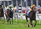 Imprimis scores by 5 1/4 lengths in the Jim McKay Turf Sprint at Pimlico Race Course