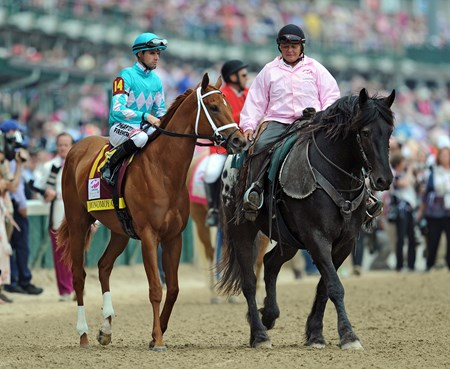 (May 4, 2018) Monomoy Girl and jockey Florent Geroux in the post-parade for the Kentucky Oaks