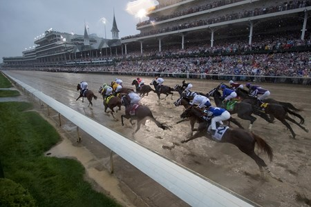 The field at the start of the Kentucky Derby at Churchill Downs on May 5, 2018.