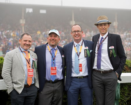 SF BLoodstock group includes Gavin Murphy left and Tom Ryan, second right.  Justify with Mike Smith wins the Preakness Stakes (G1) at Pimlico during Preakness week on May 19, 2034 Pimlico in Baltimore, Maryland.