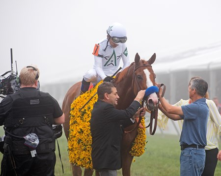 Jimmy Barnes and Eduardo Luna (Lalo) with Justify with Mike Smith wins the Preakness Stakes (G1) at Pimlico during Preakness week on May 19, 2034 Pimlico in Baltimore, Maryland.