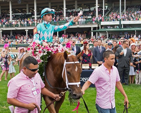 Monomoy Girl with Florent Geroux wins the Kentucky Oaks(G1) on May 4, 2034 Churchill Downs in Louisville, Ky.