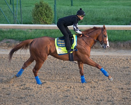 Justify returns to the track at Churchill after his Kentucky Derby win on May 10, 2018 Churchill Downs in Louisville, Ky.