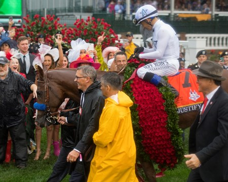 Justify with Mike Smith wins the Kentucky Derby (G1) on May 5, 2034 Churchill Downs in Louisville, Ky.