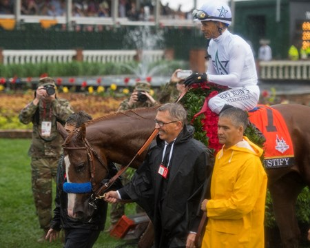 Walkin Justify with Mike Smith wins the Kentucky Derby (G1) on May 5, 2034 Churchill Downs in Louisville, Ky.