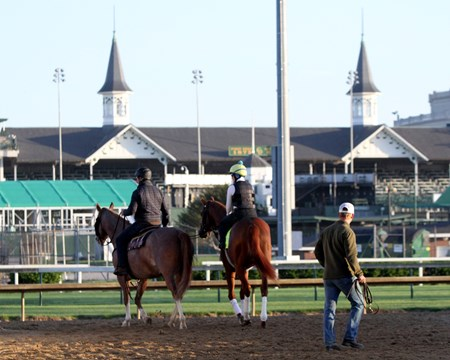 Hofburg heads onto the track at Churchill Downs on May 1, 2018 as Riley Mott watches